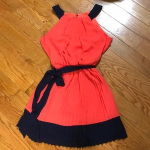 Coral and navy bcx dress size L